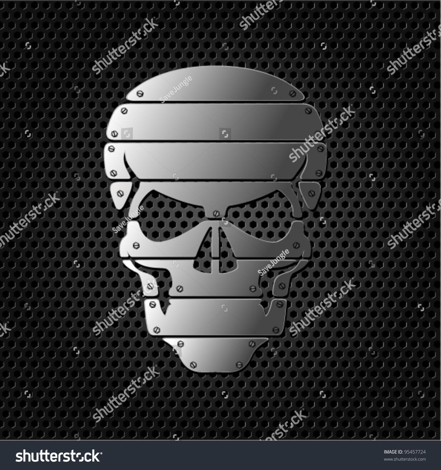 Vector Skull On Metal Background Stock Vector 95457724
