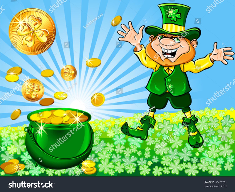 Vector St Patricks Day Happy Leprechaun Stock Vector