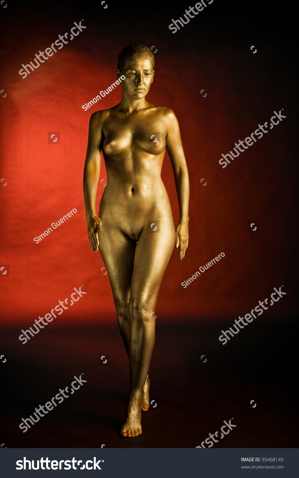 Gold body paint nudes