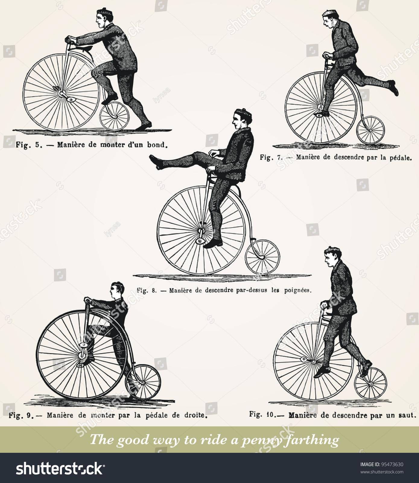 Good Way Ride Penny Farthing Vintage Stock Illustration