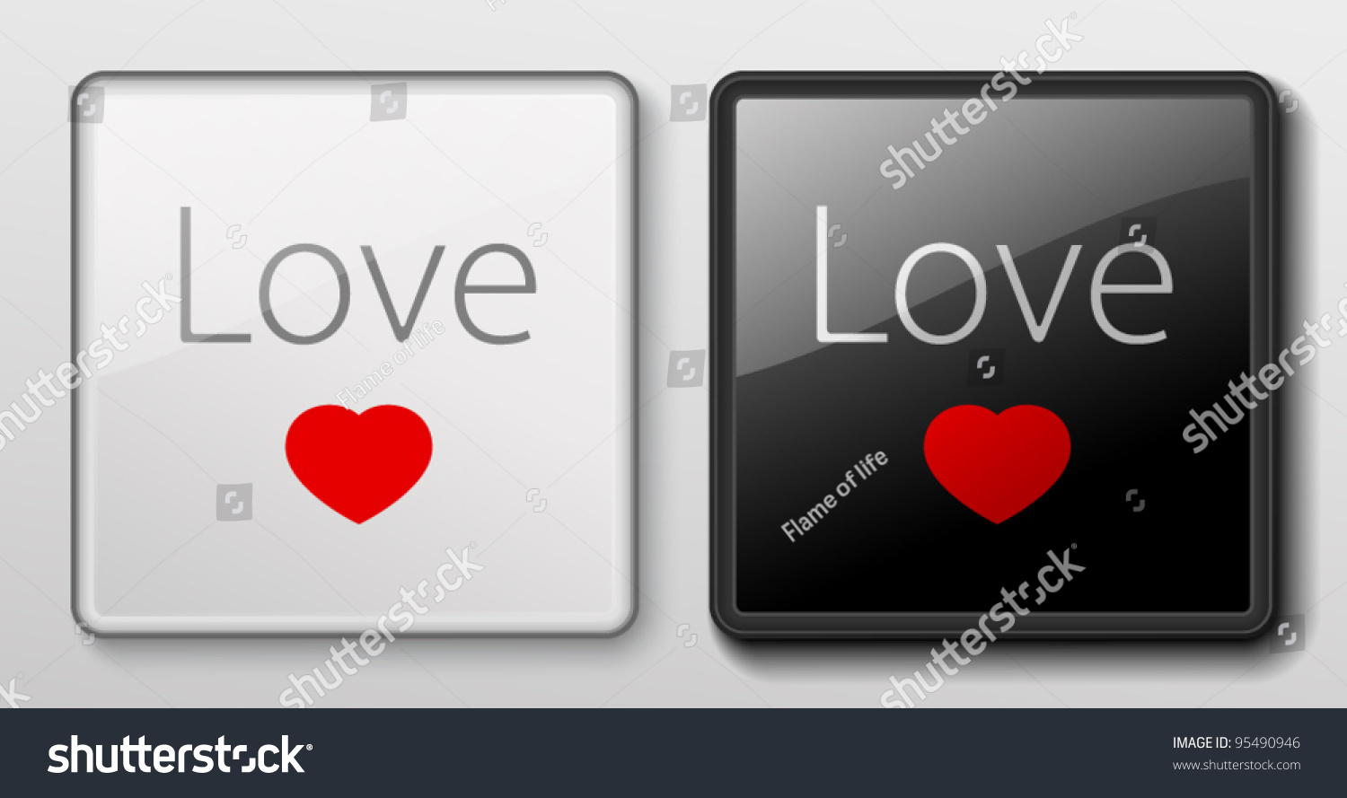 Two buttons love symbol red heart stock vector 95490946 shutterstock two buttons with love symbol red heart in black and white colors useful biocorpaavc Images