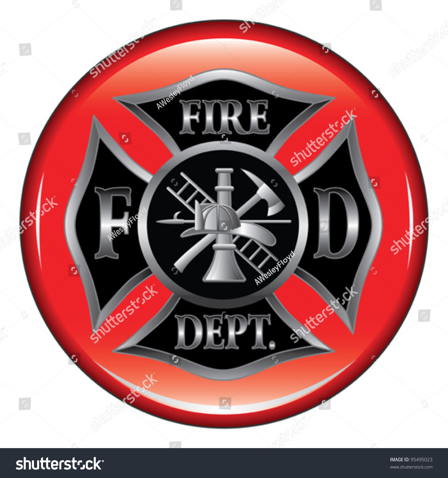 Royalty free fire department or firefighters 95495023 stock fire department or firefighters maltese cross symbol on a button illustration 95495023 buycottarizona Choice Image