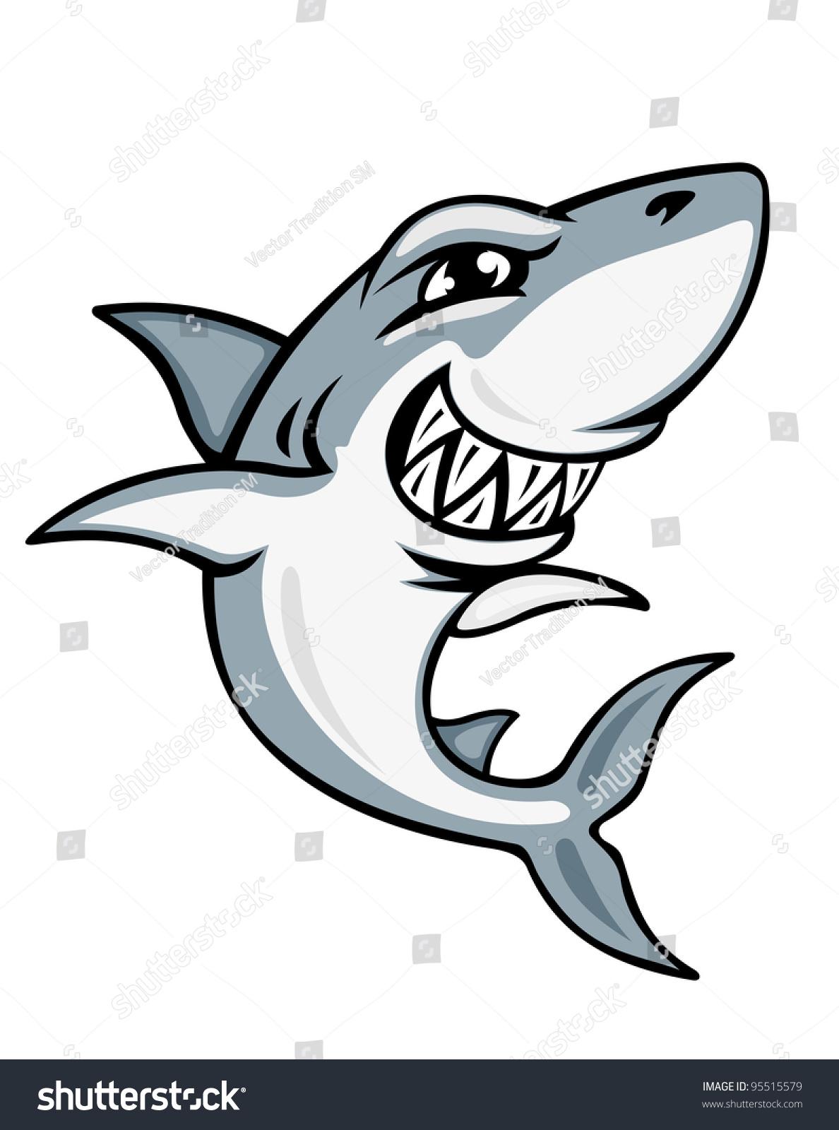 cartoon smiling shark mascot emblem design stock vector