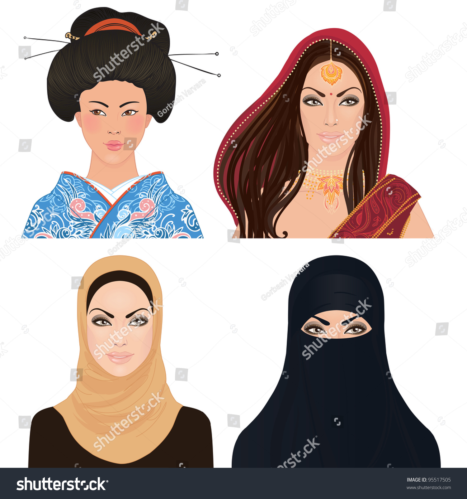 Crowd Of Indian Women Vector Avatars Stock Vector: Avatar Icon Set: Asian Woman Portrait Clipart Vector