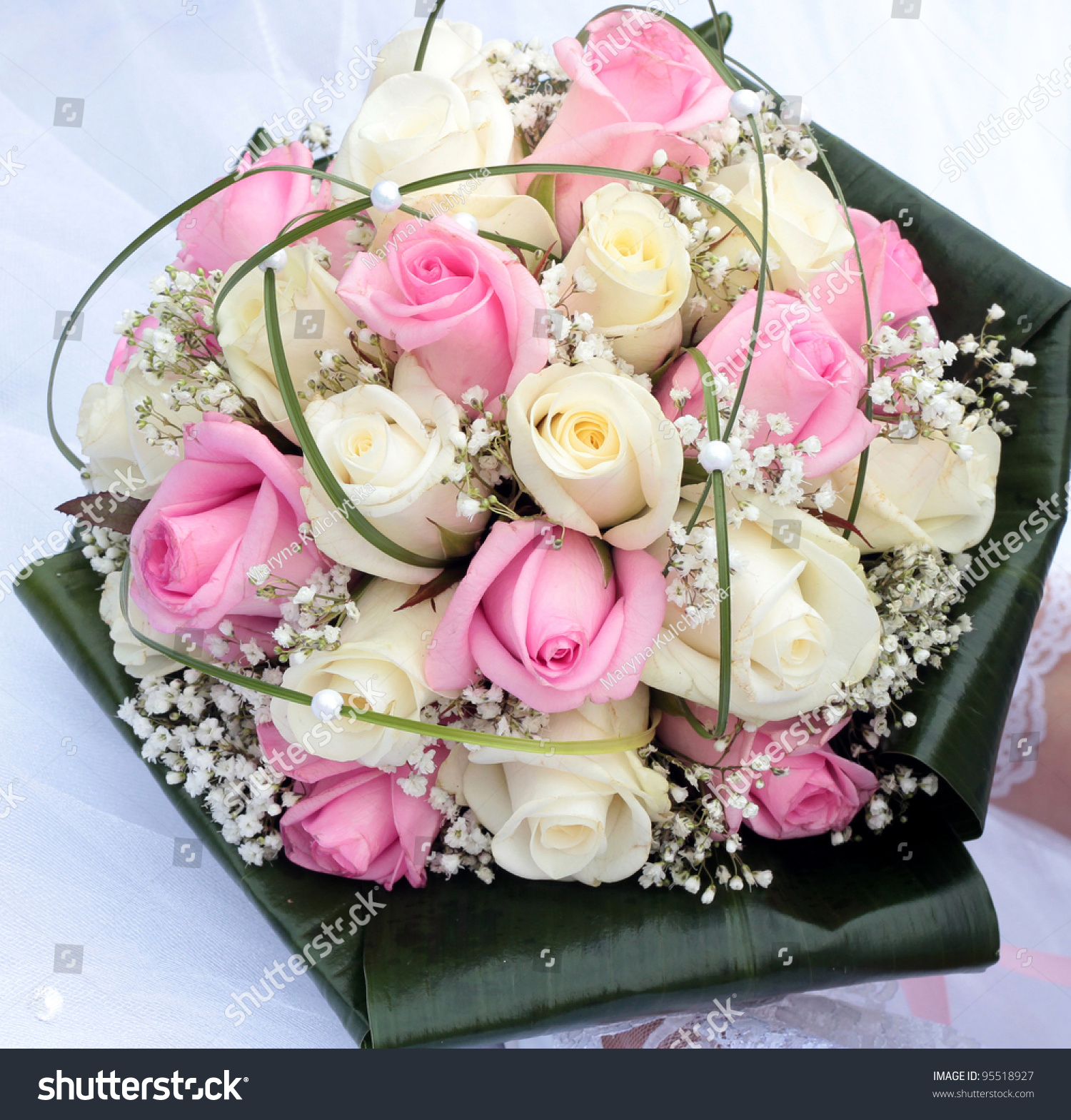 Bridal Bouquet With White And Pink Rose On Wedding Day Flowers