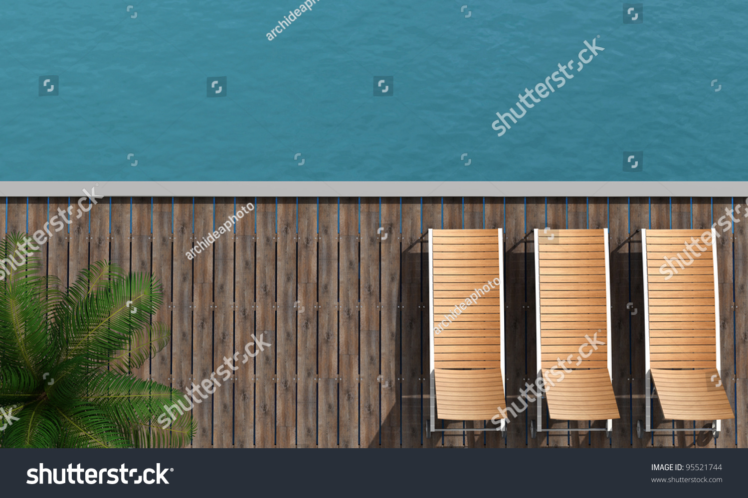 Pool chair top view - Top View Of A Boardwalk With Three Beach Chair And Palm Tree