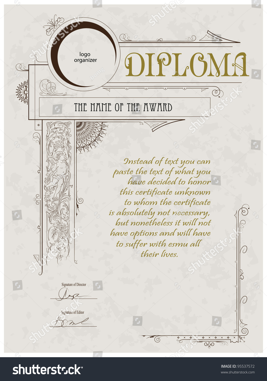 Vintage Frame Certificate Diploma Template Stock Vector Royalty