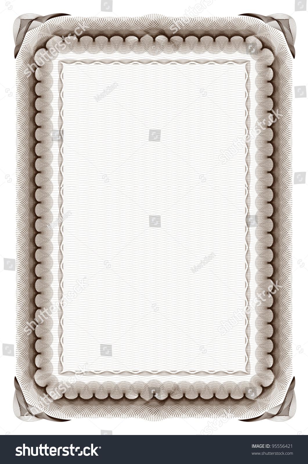 Blank Brown Certificate Frame On White Stock Vector 95556421 ...