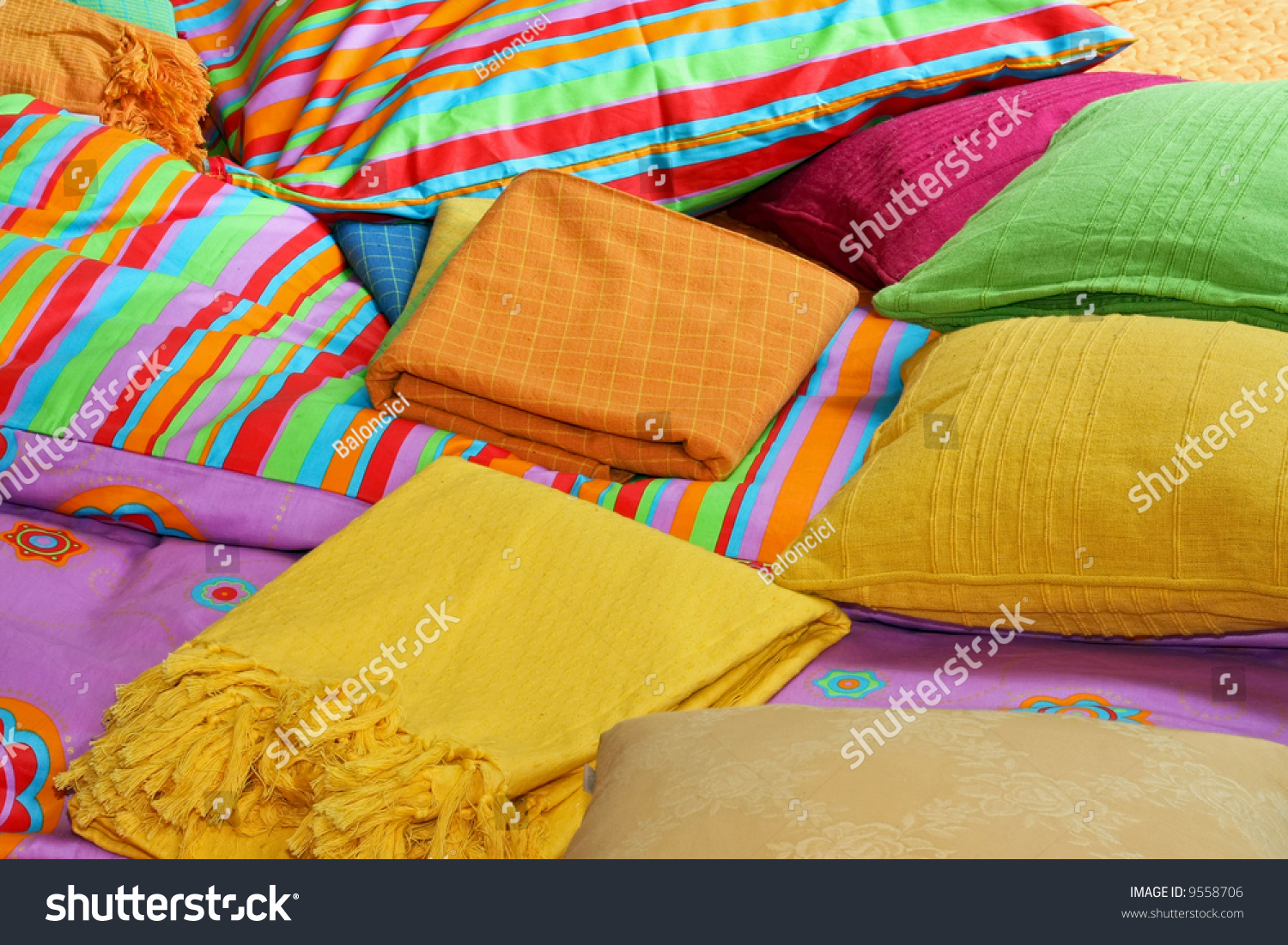 Bunch Pillows Colorful Sheets Over Bed Stock Photo (Edit Now ...