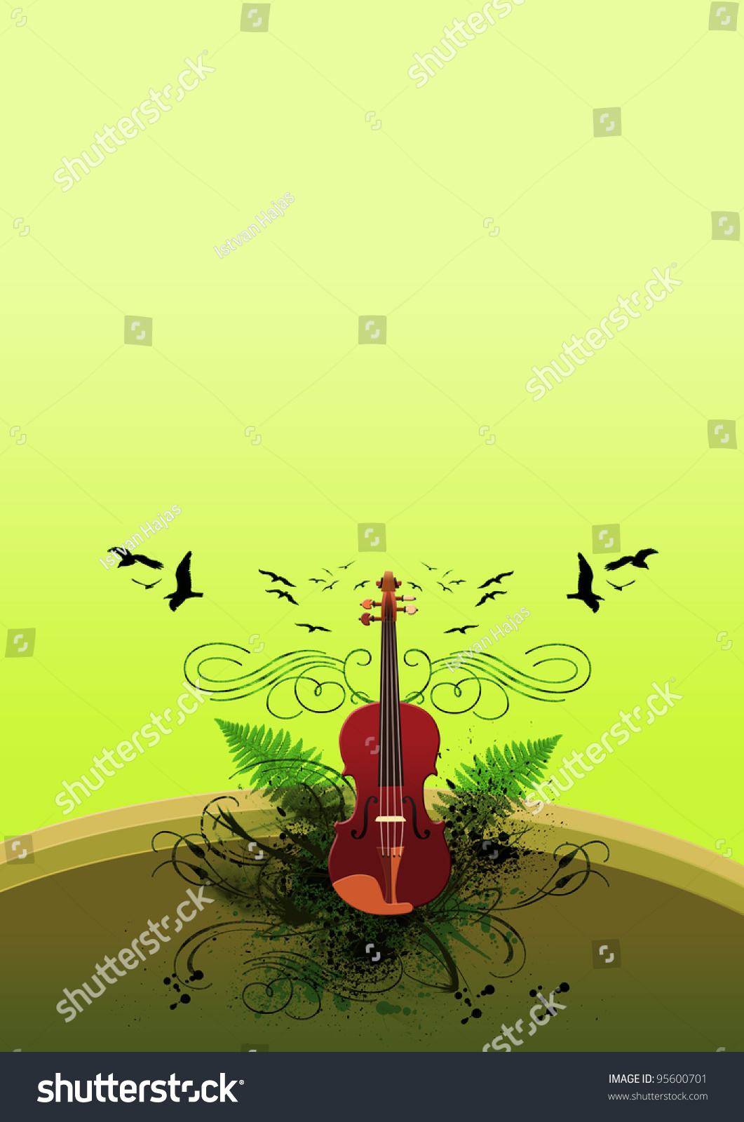 Classic Music Violin Background Space Poster Stock Illustration