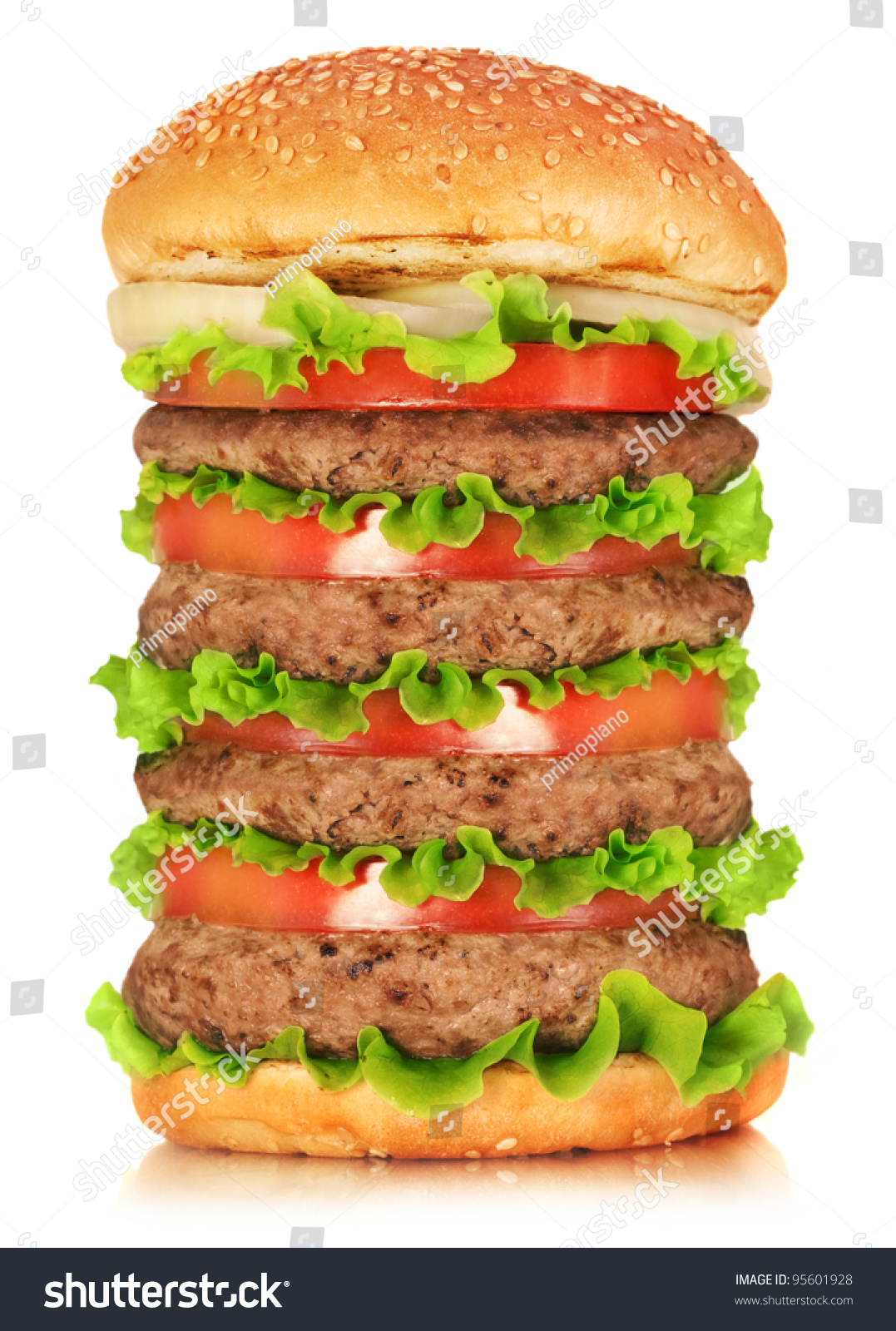 Burger Isolated On White Background Fast Stock Photo ...
