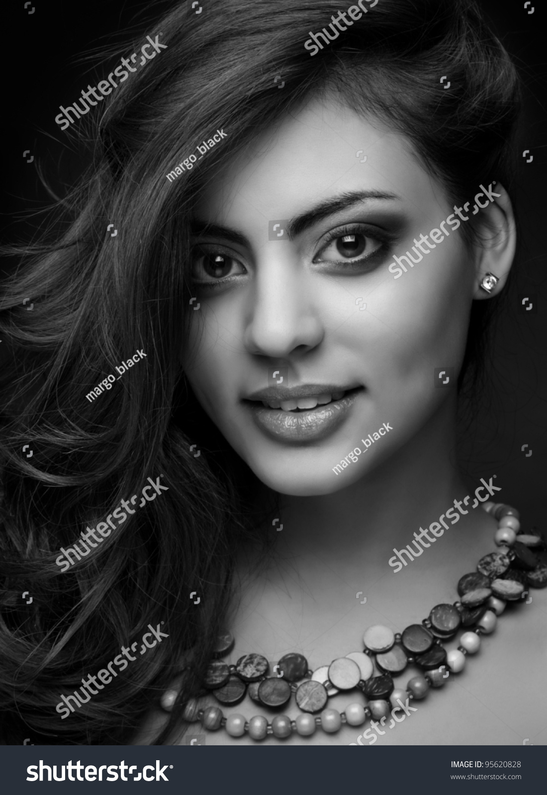 beautiful indian girl monochrome shot stock photo (royalty free