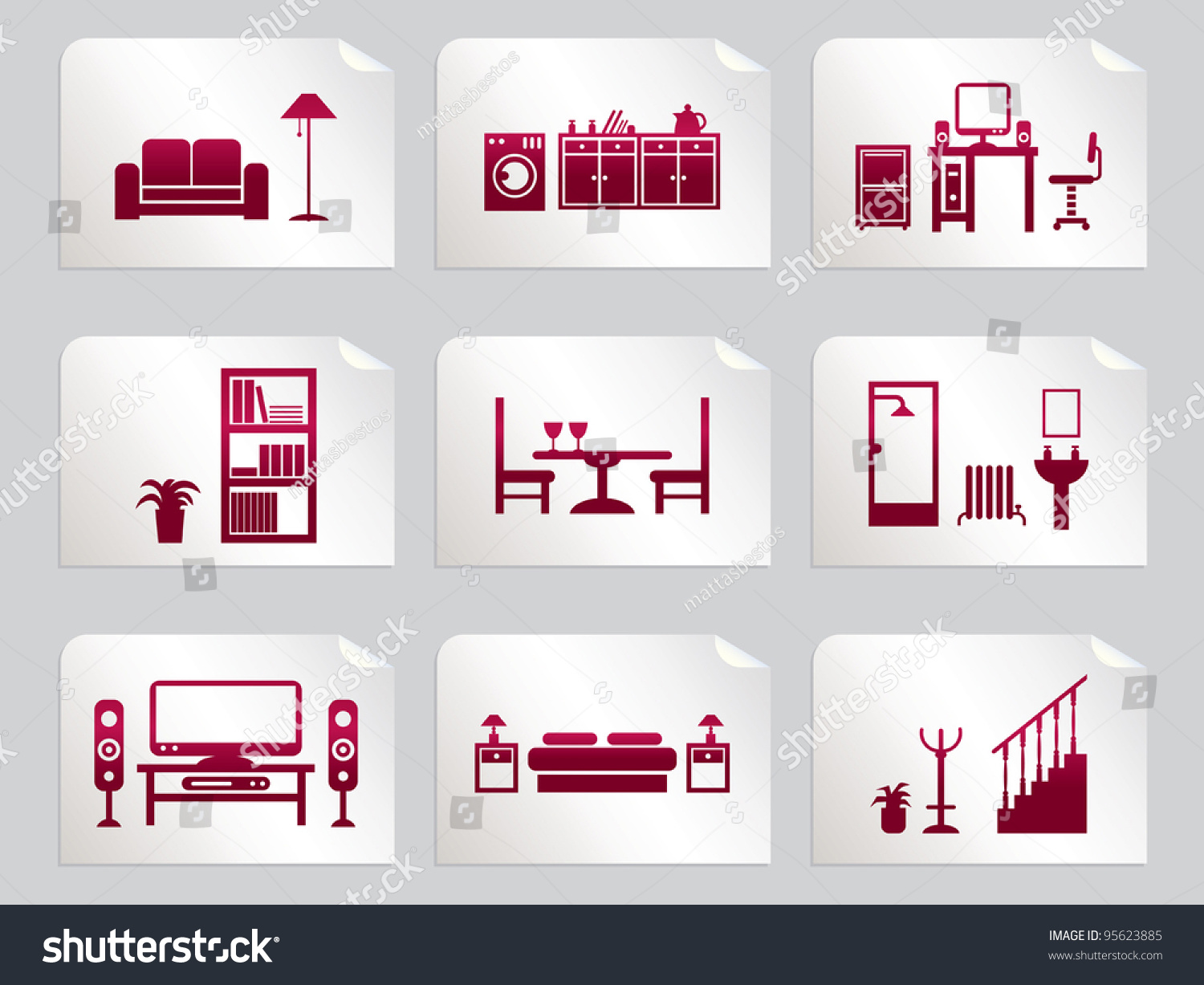Red home interior design icons on stickers stock vector for Interieur stickers