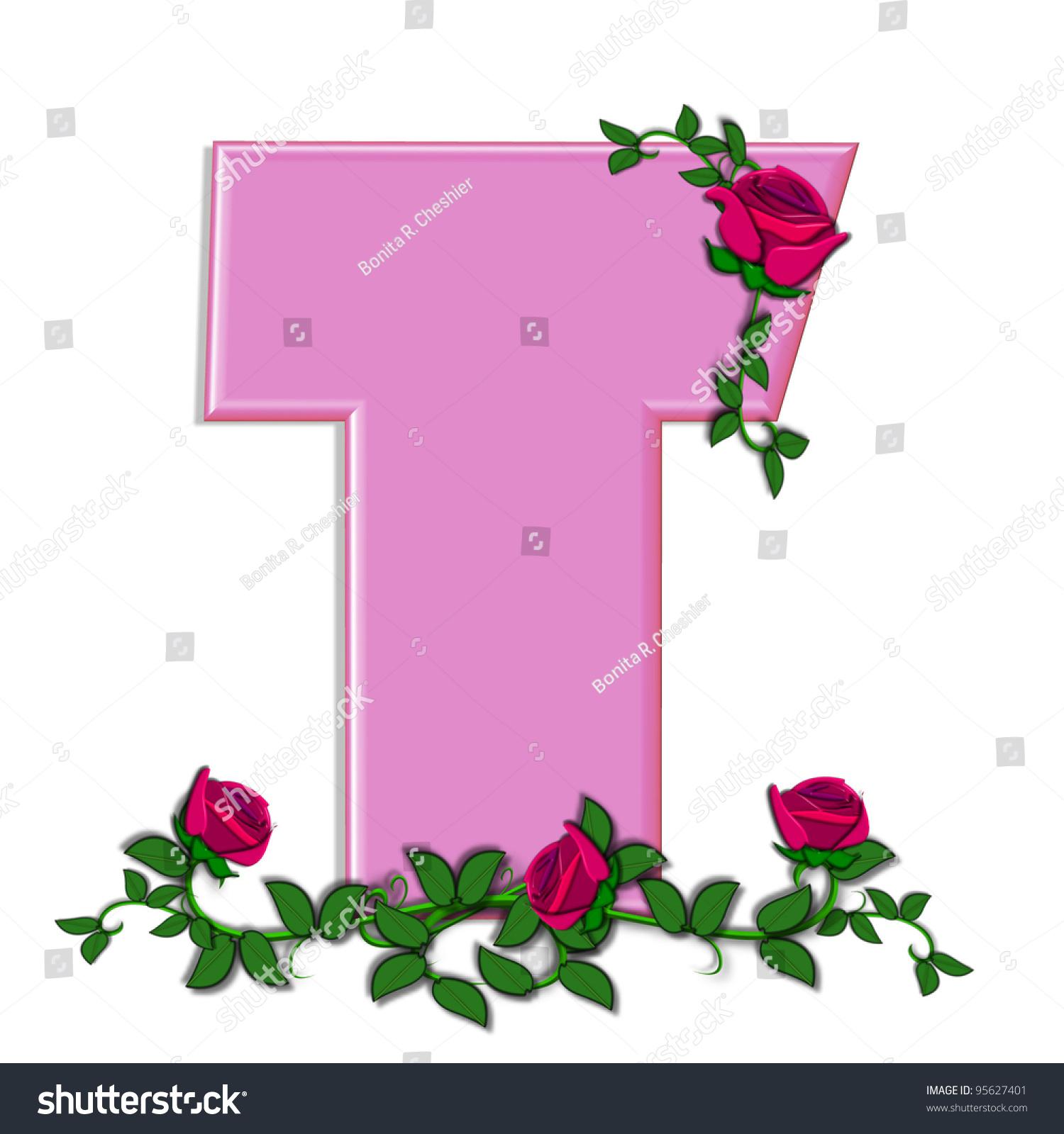 Letter T Alphabet Set Blushing Roses Stock Illustration 95627401