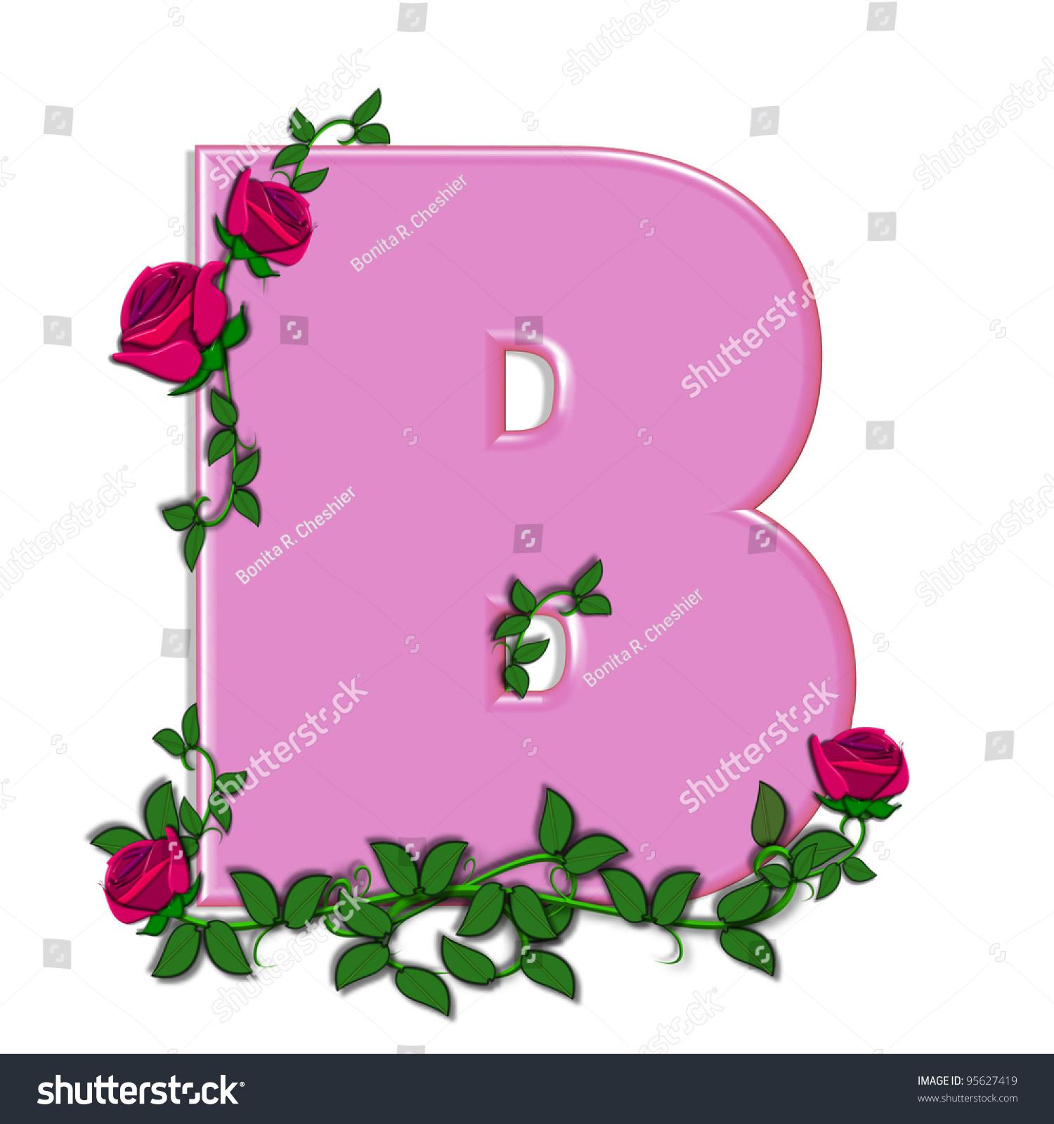 Letter B Alphabet Set Blushing Roses Stock Illustration - Royalty ...