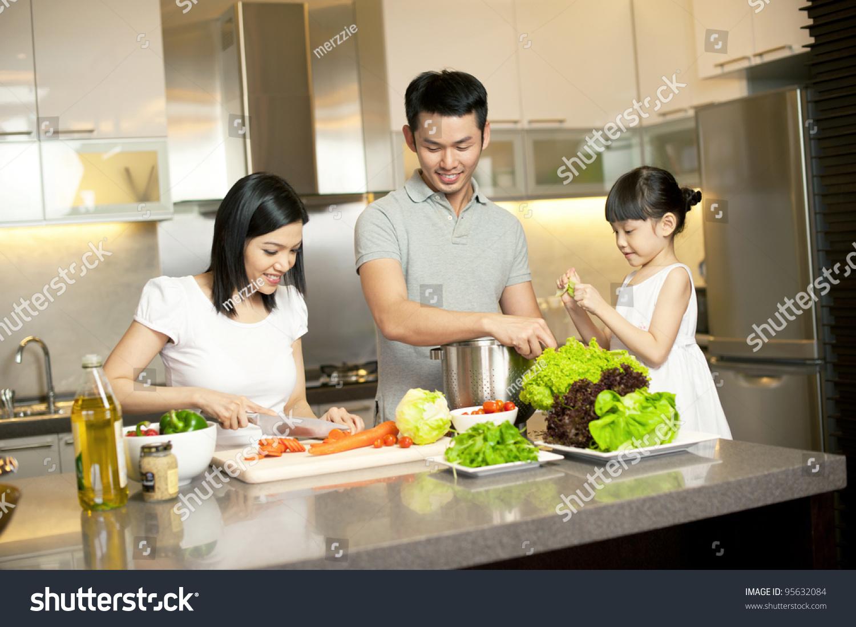 Family Kitchen Asian Family Kitchen Lifestyle Stock Photo 95632084 Shutterstock