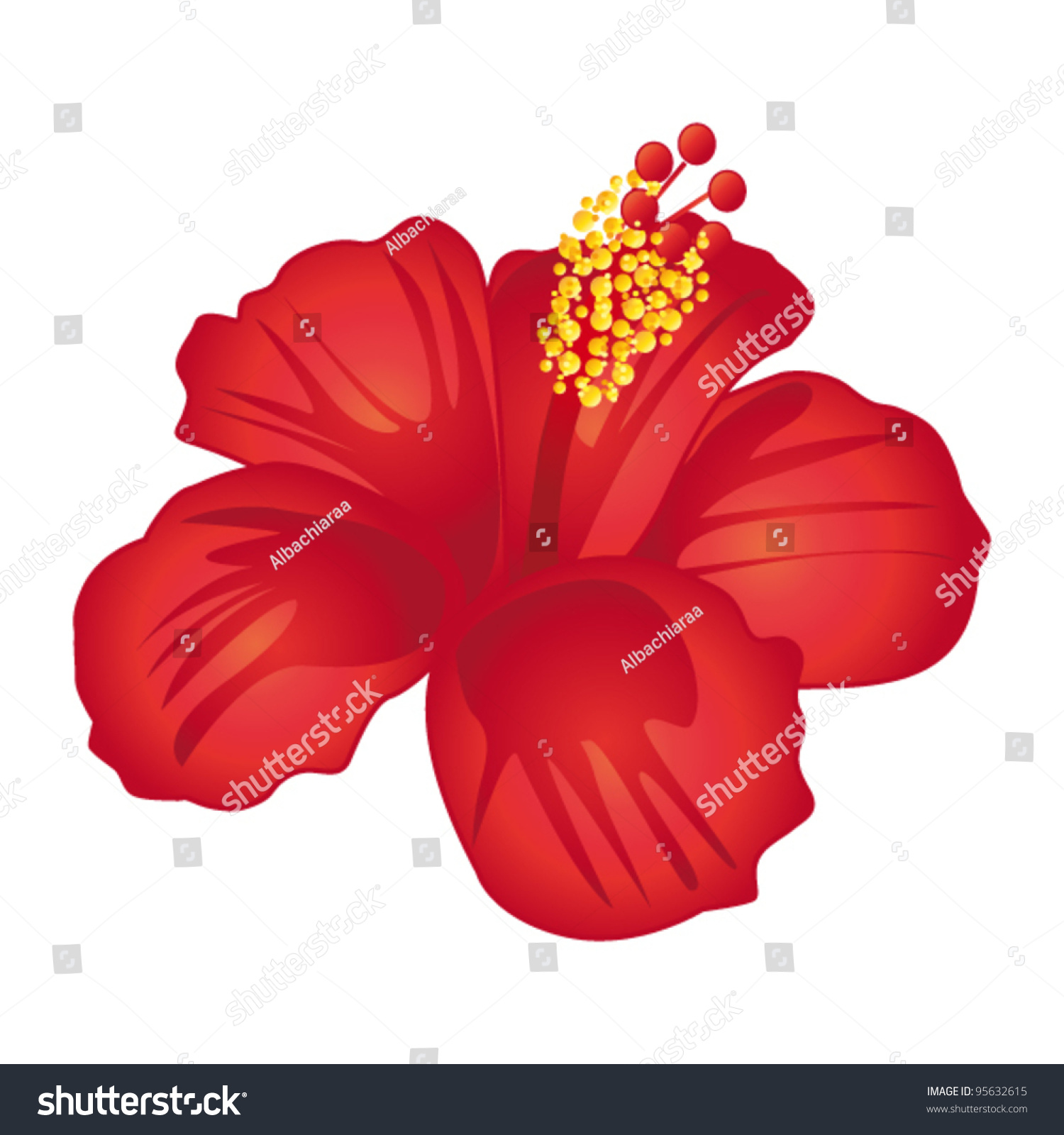 Beautiful red hibiscus flower vector illustration stock vector beautiful red hibiscus flower vector illustration stock vector 95632615 shutterstock izmirmasajfo