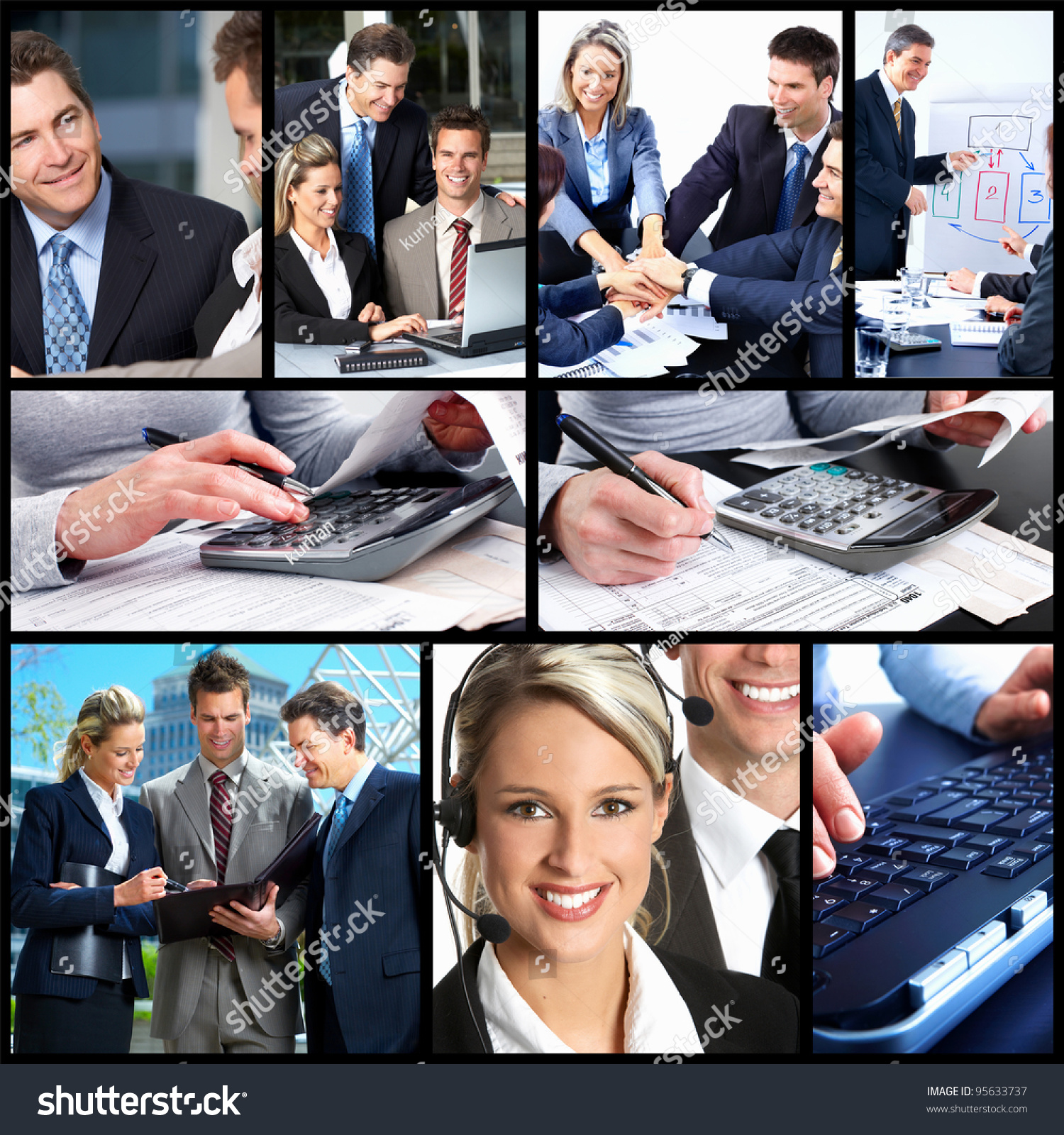 business people team working in the office collage background