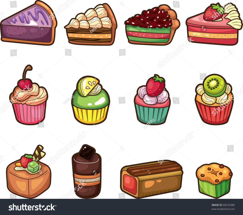 Cartoon Cake Icons Set Stock Vector 95676388 Shutterstock