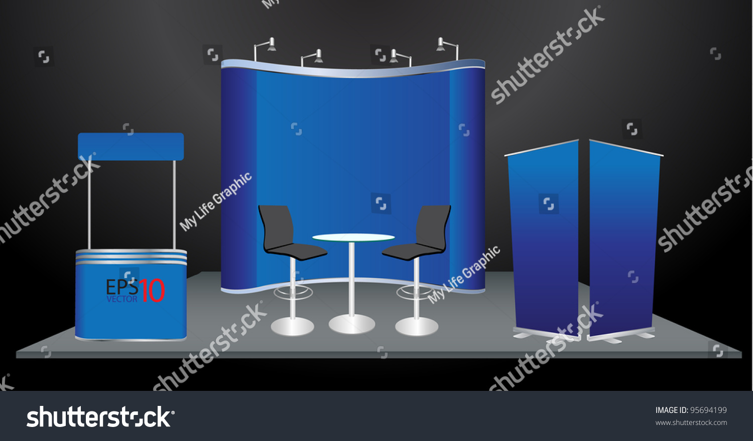 Exhibition Booth Blank : Vector blank trade show booth roll stock