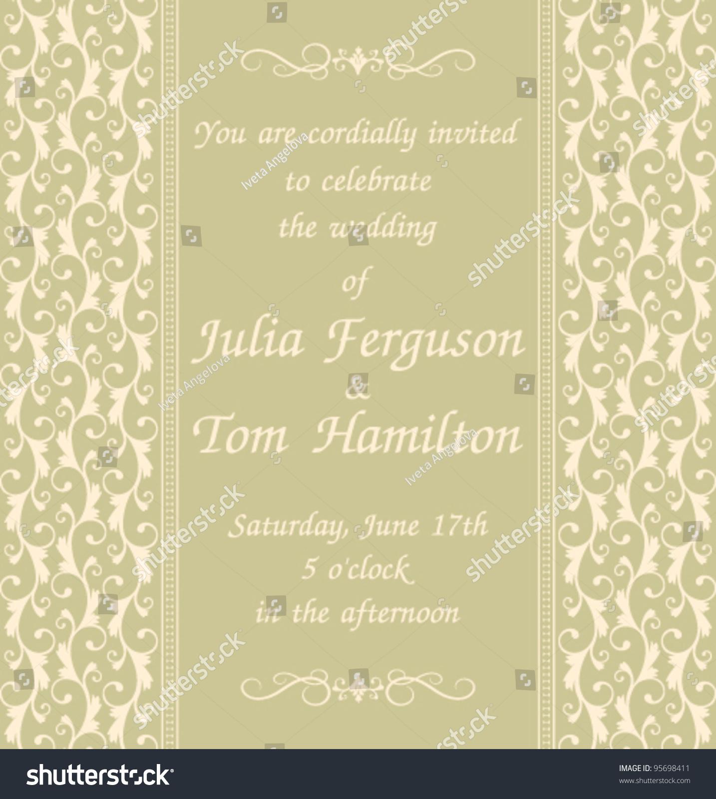 Elegant Wedding Invitation Template Green Background Stock Vector ...