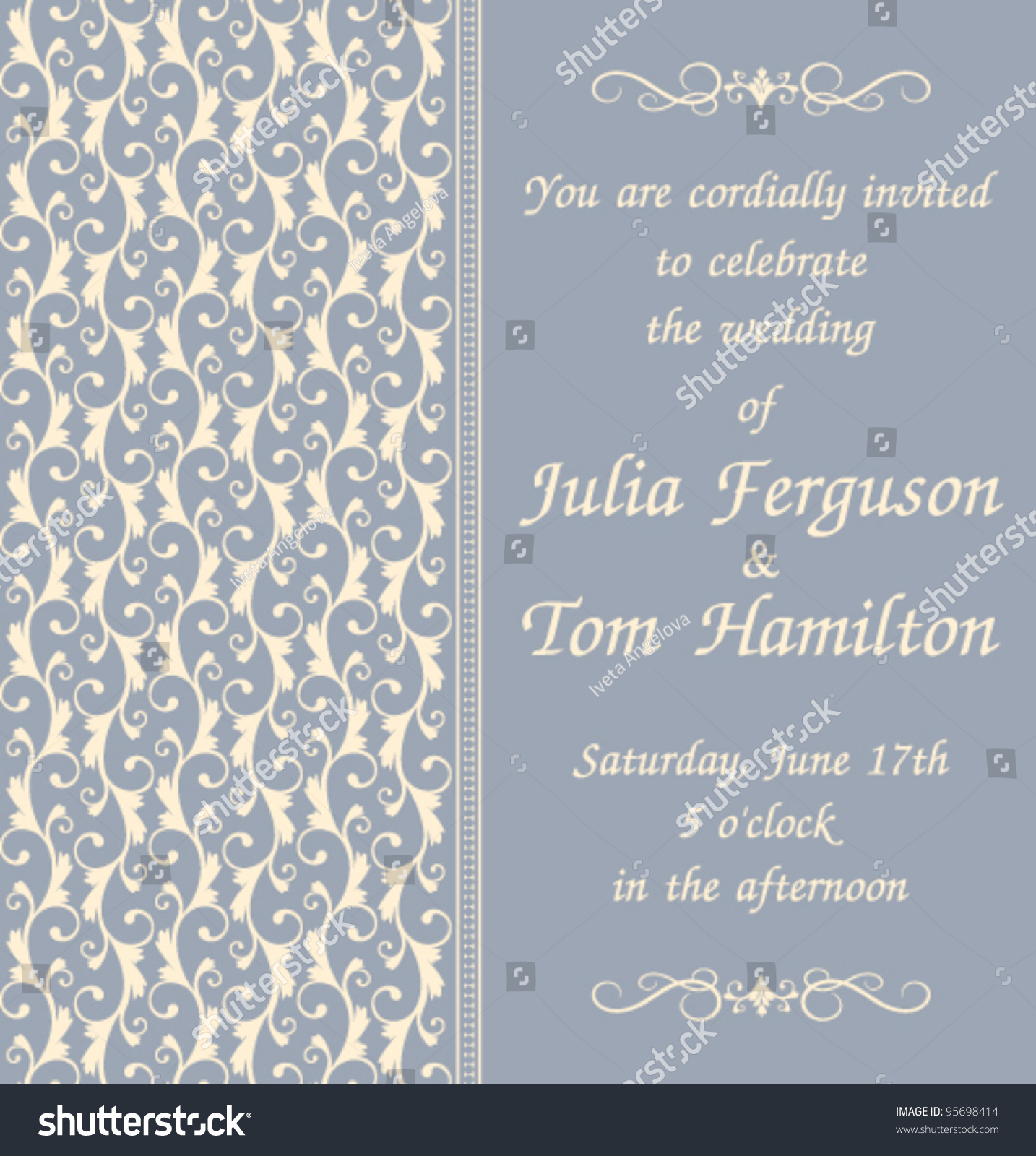 Elegant Wedding Invitation Template Blue Background Stock Vector ...