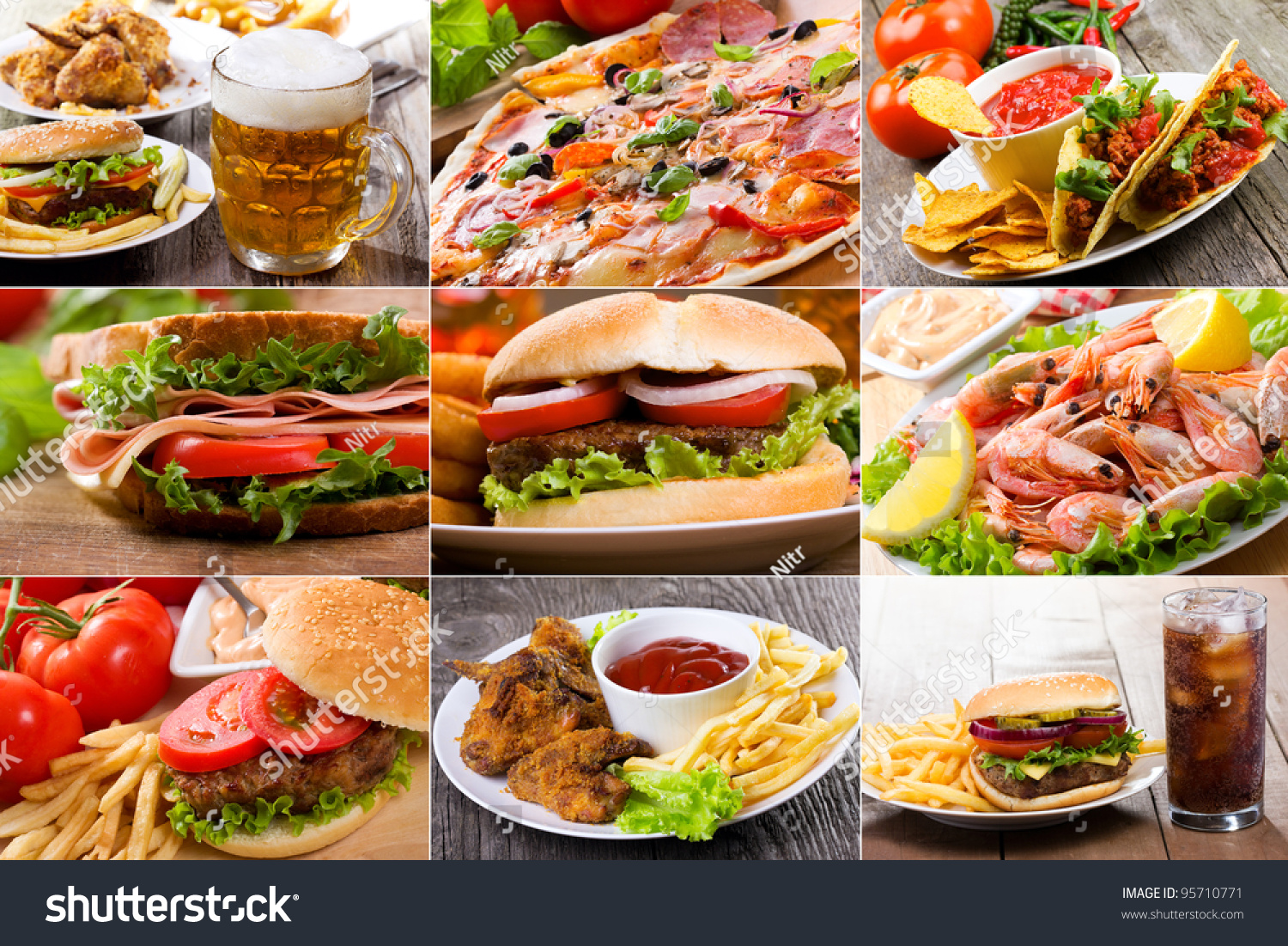 Collage Fast Food Products Stock Photo 95710771 - Shutterstock