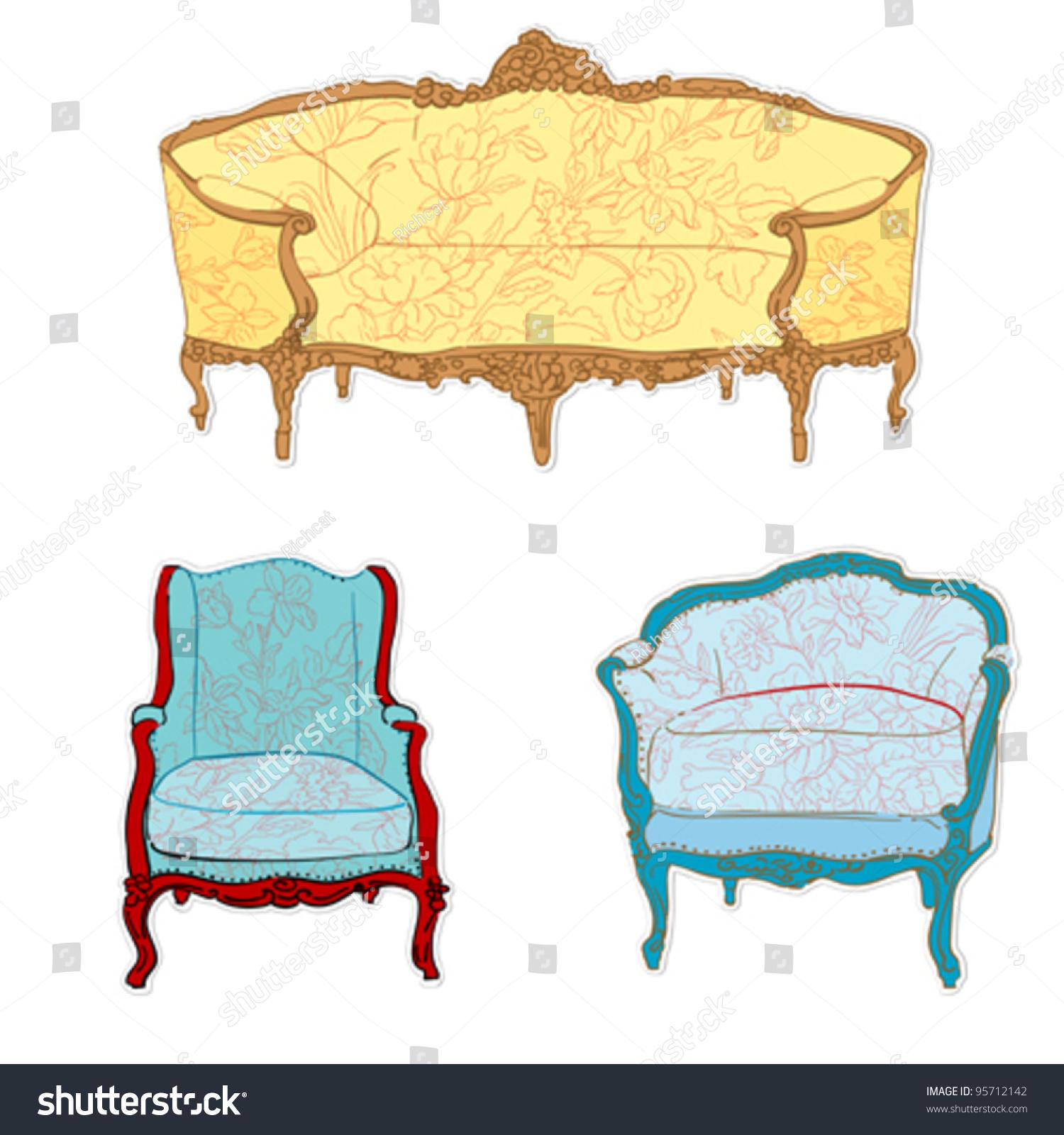 Antique Rococo Sofa Chair Armchair Floral Stock Vector