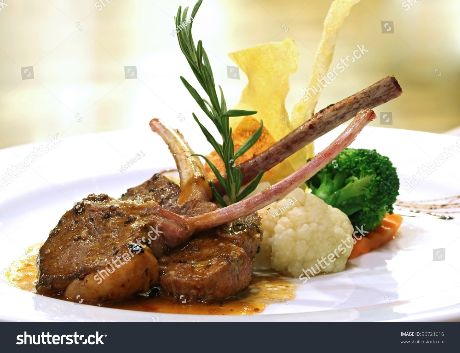 Gourmet main entree course grilled lamb stock photo - Cuisine de a a z entrees ...