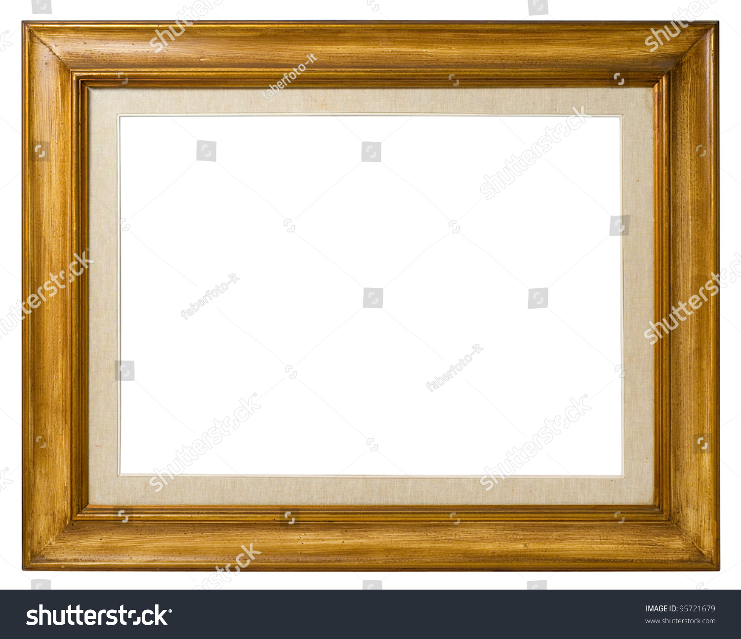 antique double frame wood and canvas italian style isolated on white background