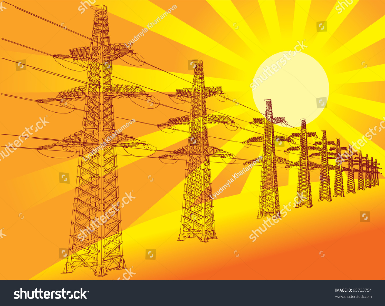 Line Drawing Setting Sun : Power transmission line against setting sun stock vector