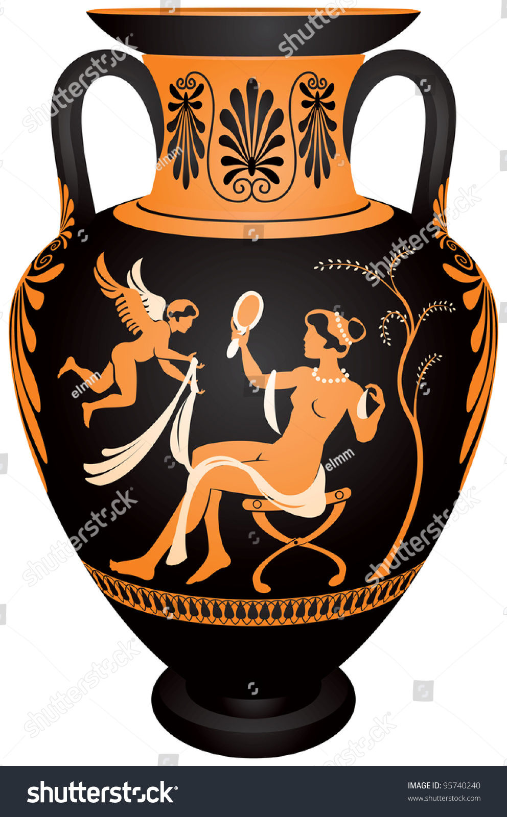 Amphora redfigure vase painting vector images stock vector amphora red figure vase painting vector images greek goddess aphrodite with the mirror reviewsmspy