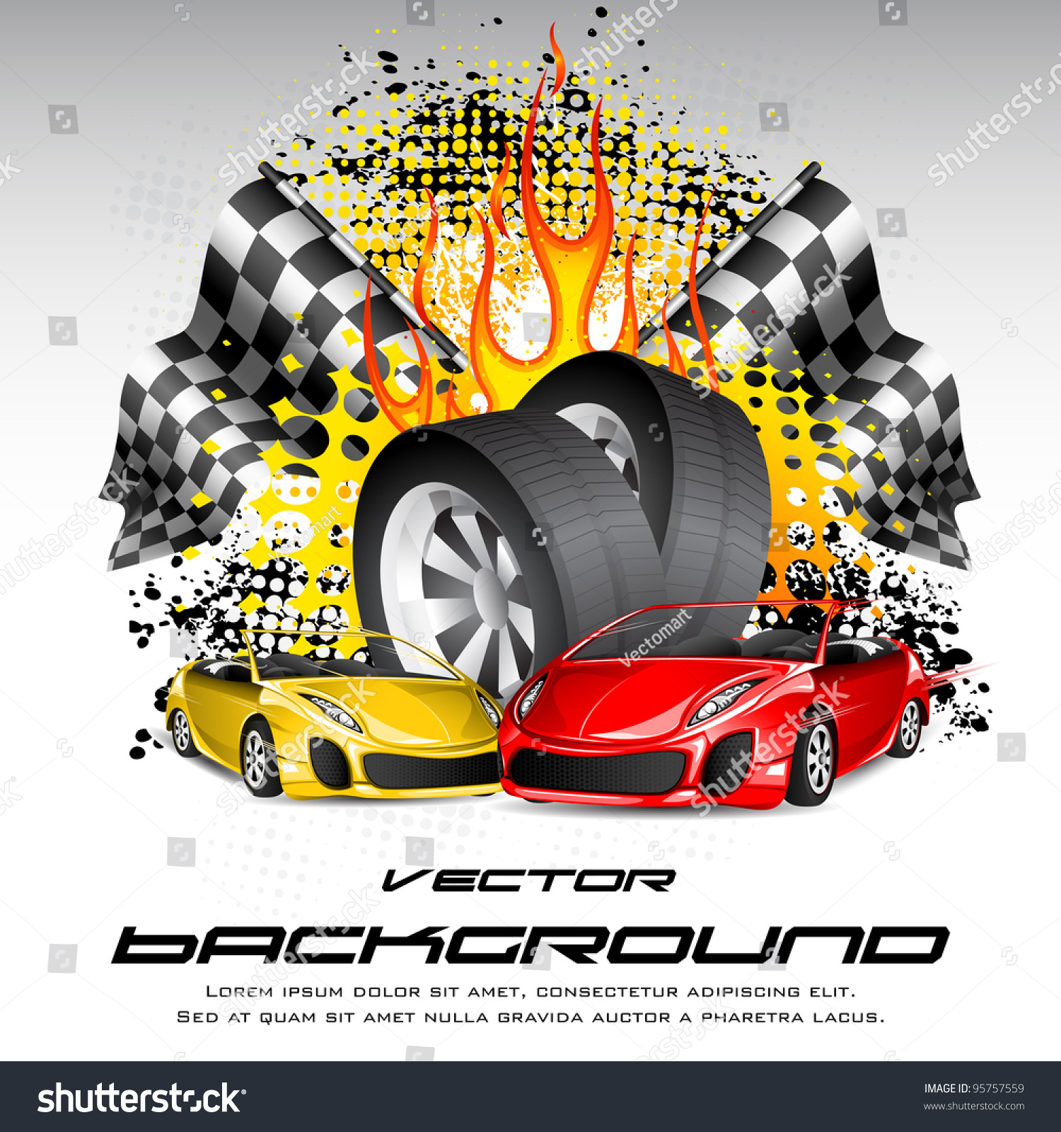 Design car flags - Illustration Of Tyre With Car And Race Flag On Fiery Background