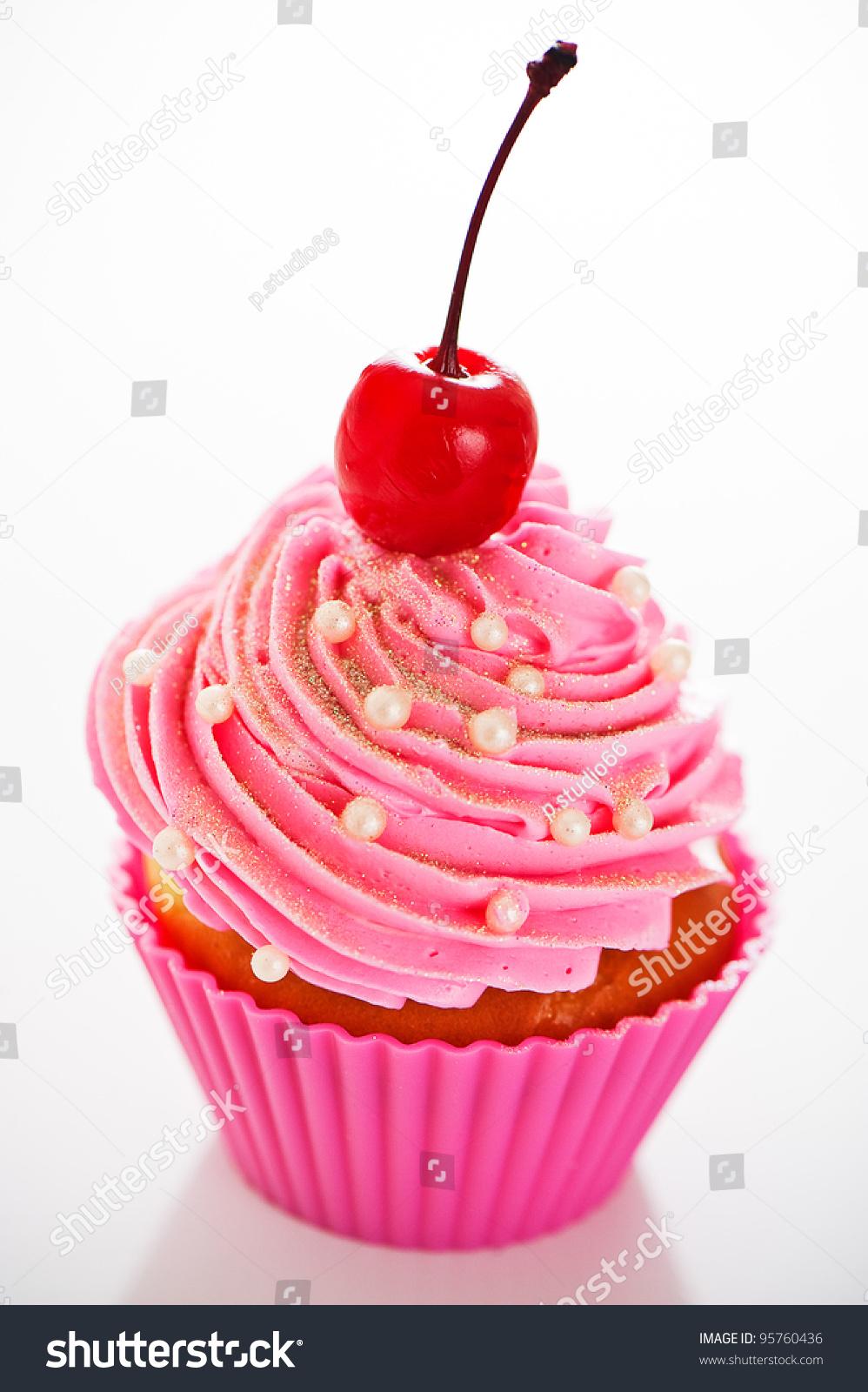 Cupcake pink baking cups pink cream stock photo 95760436 shutterstock - Creme decoration cupcake ...