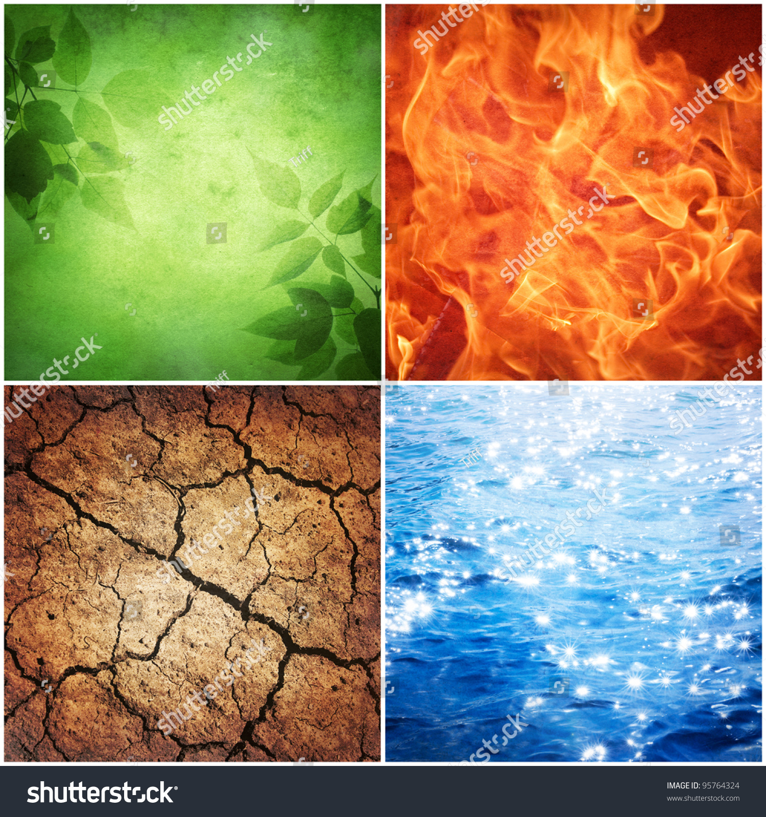 Composition Four Natural Elements Grunge Background Stock