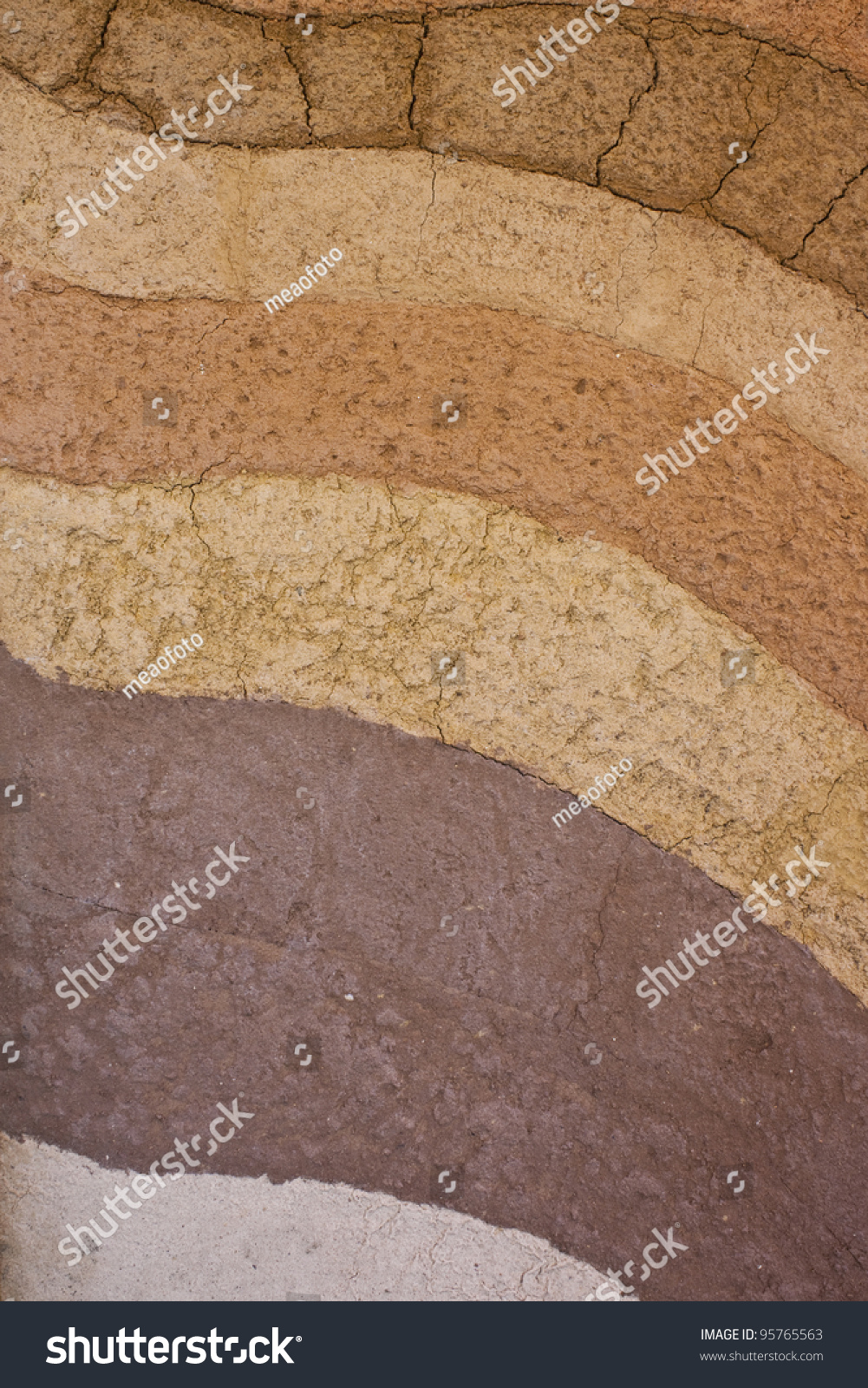 Form And Texture : A form of soil layers its colour and textures stock photo