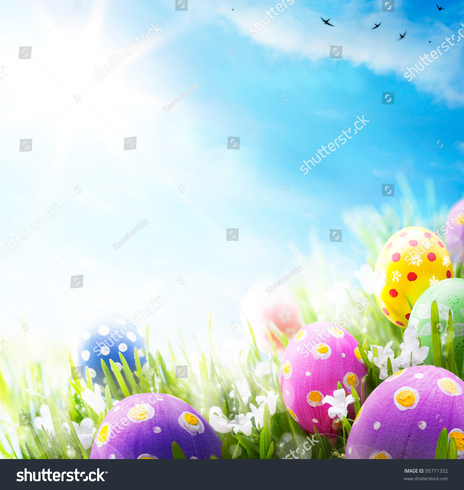 Colorful Easter Eggs Decorated Flowers Grass Stock Photo ...