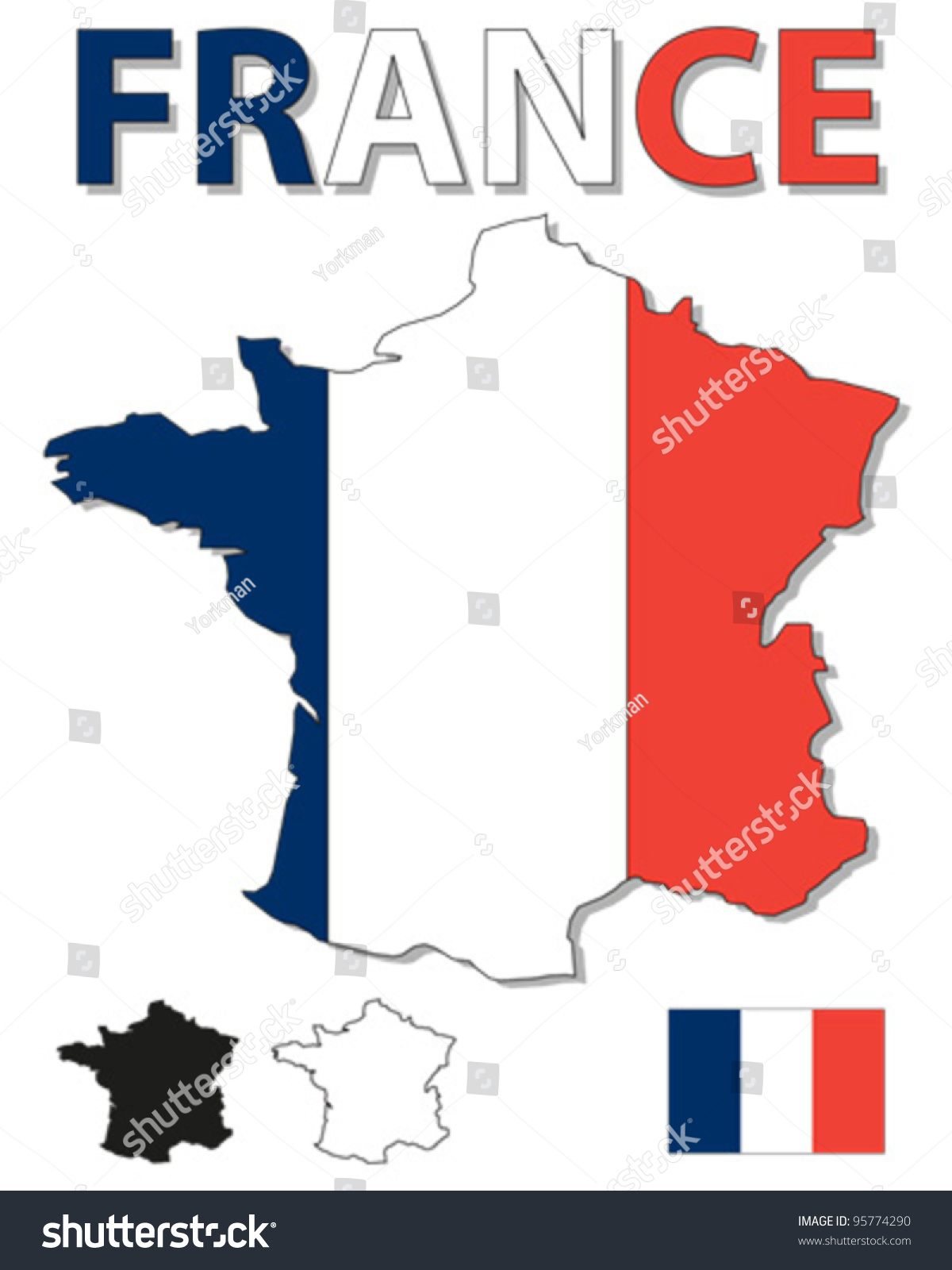 Picture of: Vector De Stock Libre De Regalias Sobre Outline Map France Filled French Flag95774290