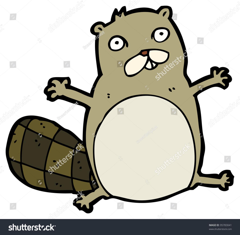 crazy beaver cartoon raster version stock illustration 95783041