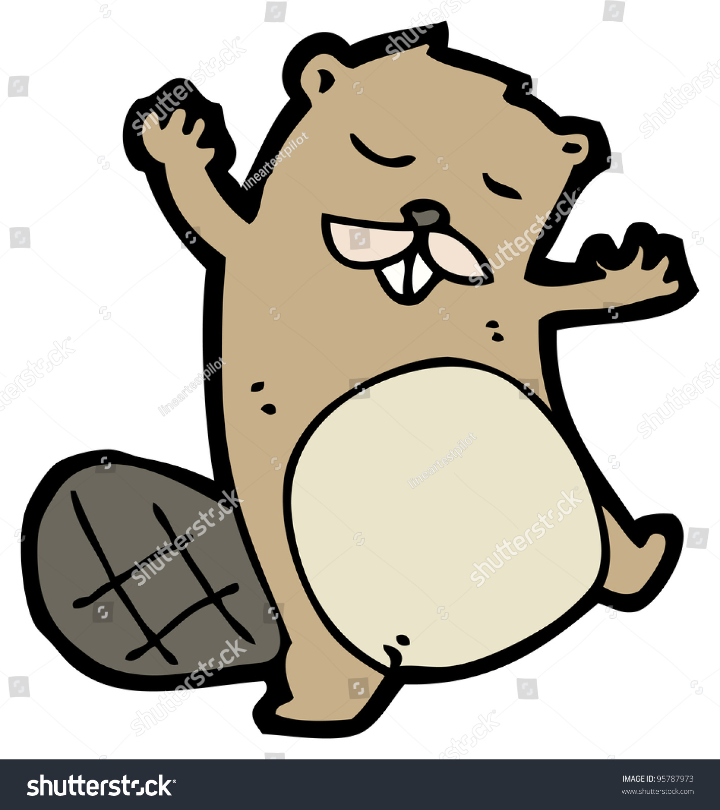 cartoon beaver raster version stock illustration 95787973