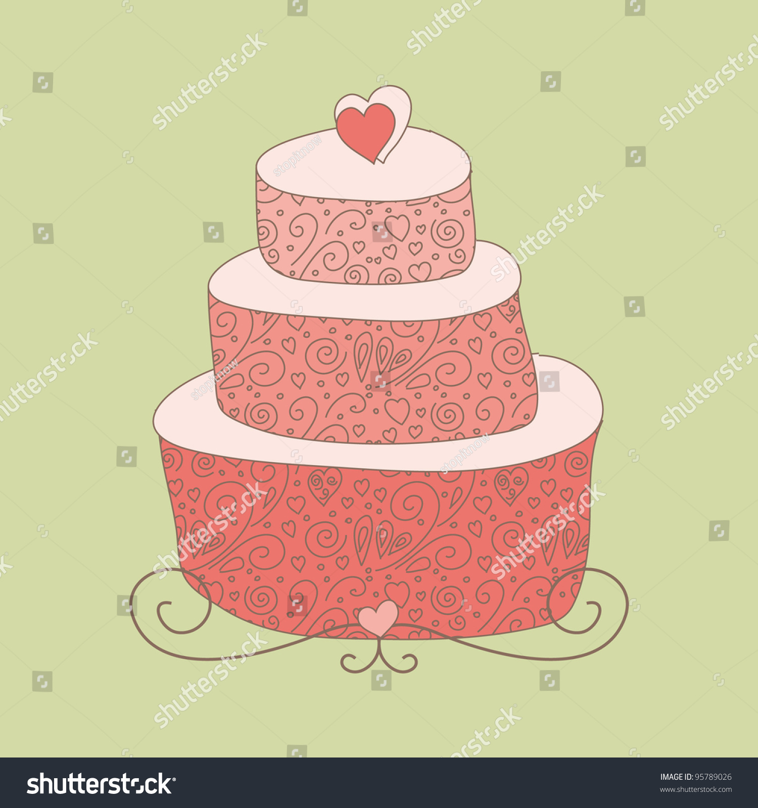 Cute Wedding Cake Hearts On Top Stock Vector (Royalty Free) 95789026 ...