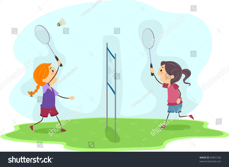 Illustration Girls Playing Badminton Stock Vektorgrafik Lizenzfrei
