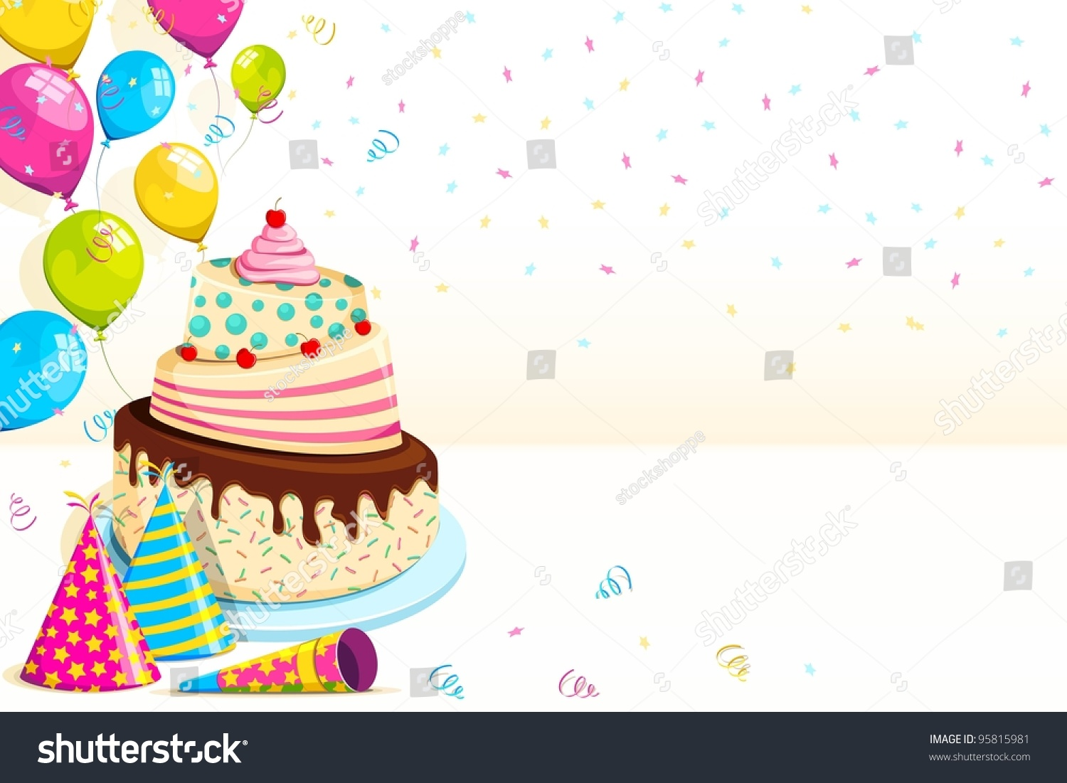 Vector Illustration Happy Birthday Background Cake Stock Vector 95815981