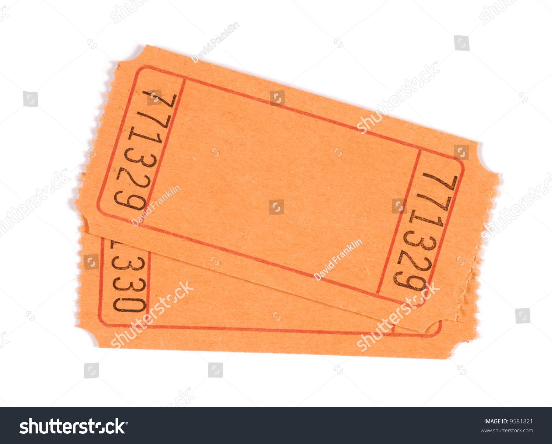 royalty free blank ticket pair of plain orange 9581821 stock