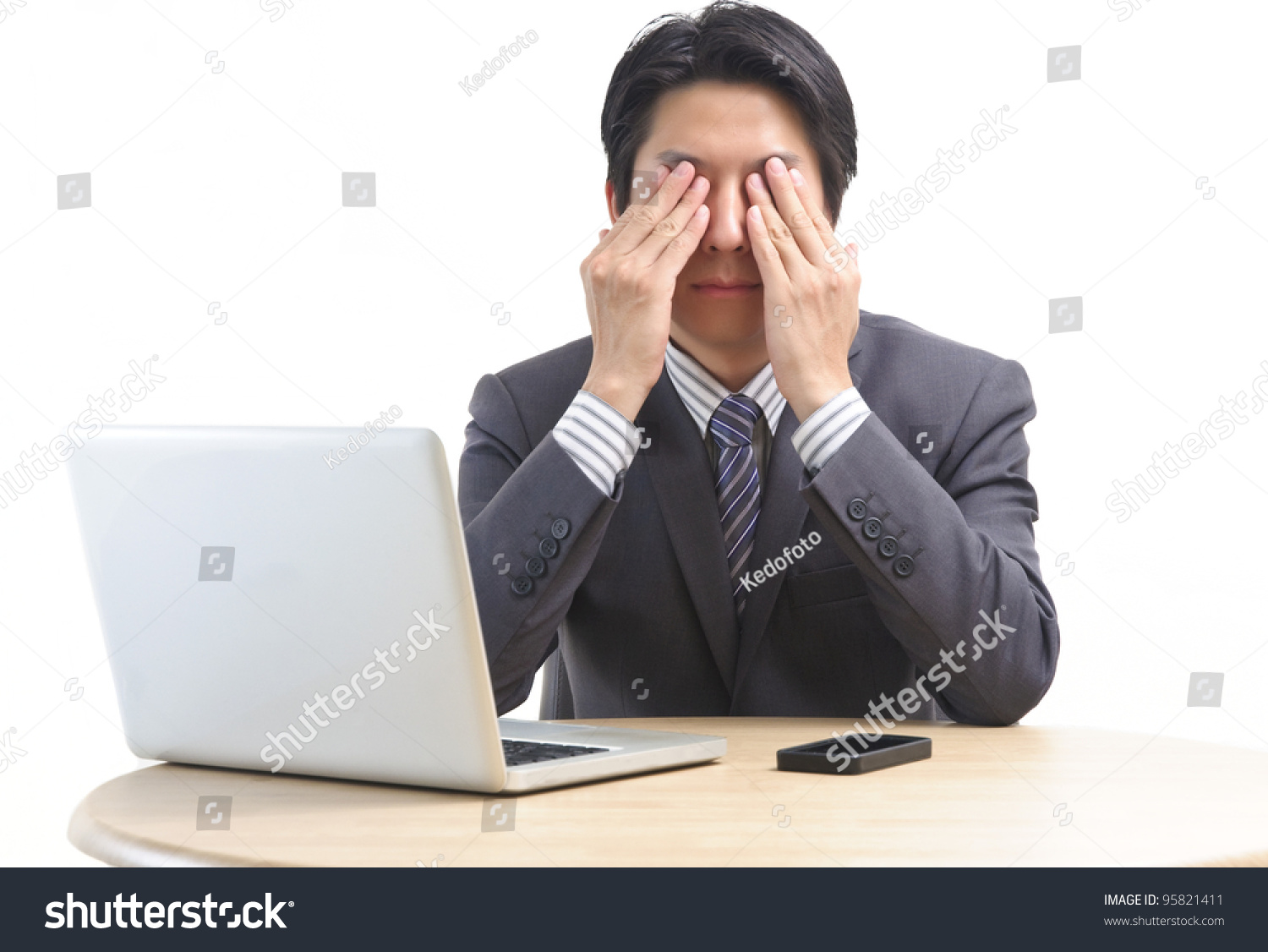 Tired Asian Business Man Massage His Eye Isolated On White ...
