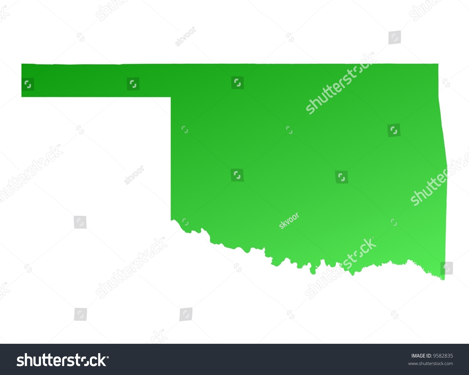 Oklahoma Map In Usa.Green Gradient Oklahoma Map Usa Detailed Stock Illustration