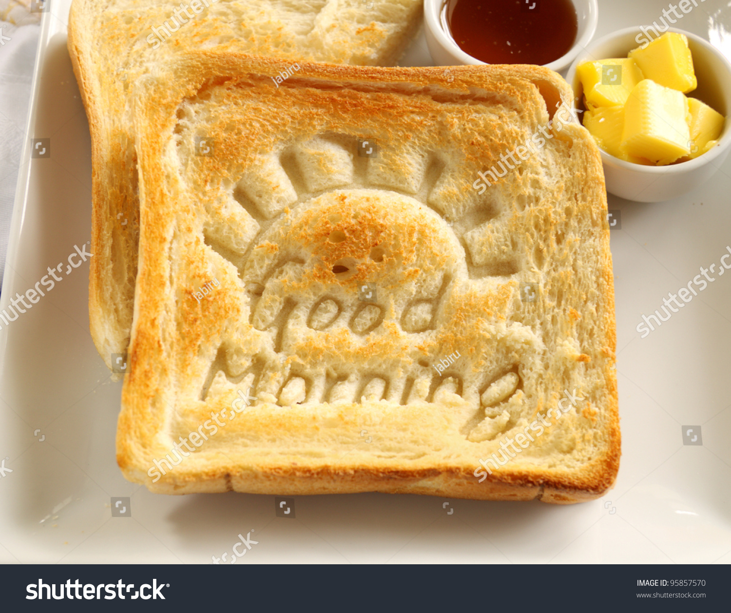Slice Toast Good Morning Carved Into Stock Photo 95857570