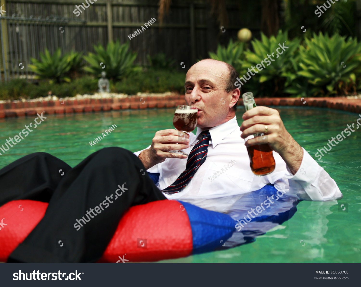 Business Man Dressed Business Attire Swimming Stock Photo 95863708 Shutterstock