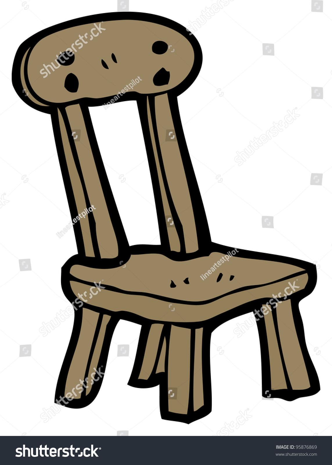 Old wood chair cartoon stock illustration
