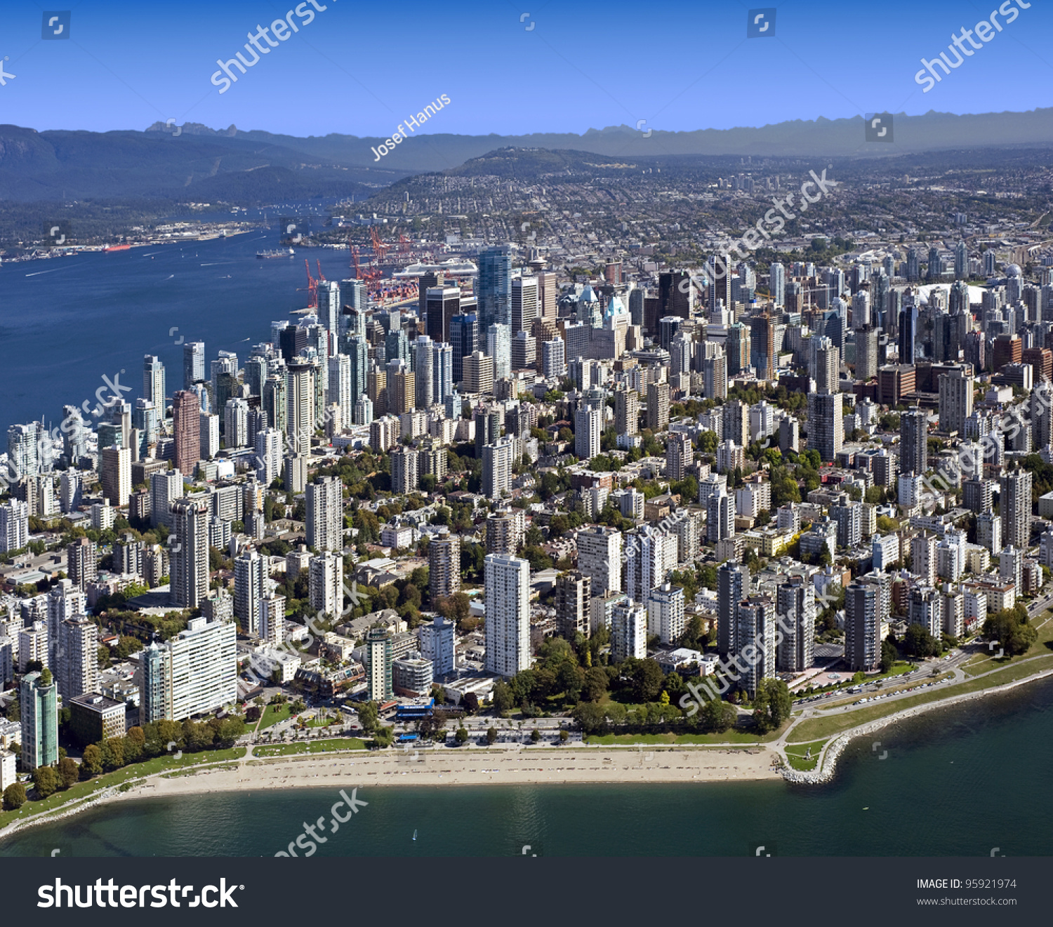 Downtown Vancouver: Vancouver Aerial Metro Vancouver Bc West Stock Photo